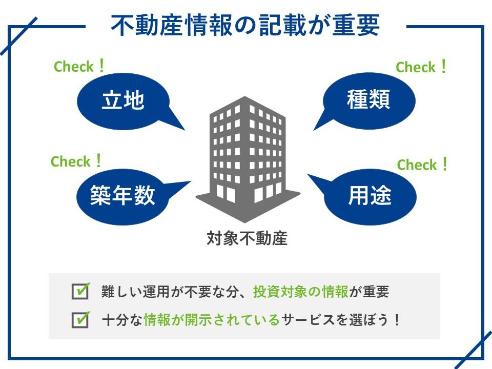 不動産投資ファンドの情報の詳細が記載されているか