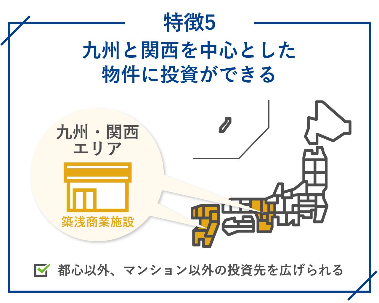 九州と関西を中心とした物件に投資ができる